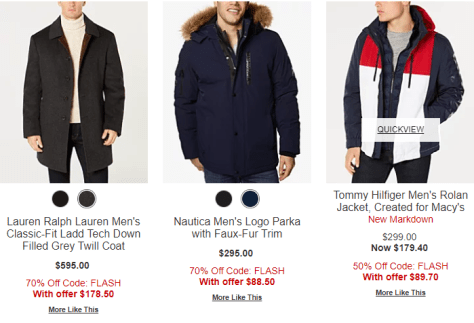 Macy's – Men's Coats Flash Sale Up To 70% Off + Extra 50% -70% Off!