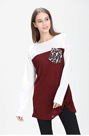 Amazon : Women's Long Sleeve Round Neck Leopard Print Pocket Side Twist Knotted Loose Casual Tops Just $9.49 W/Code (Reg : $18.98) (As of 2/19/2019 7.42 PM CST)