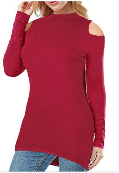 Women's Tops Mock Neck Long Sleeve Knit Cold Shoulder Tunic Shirts for $11.49 - $13.49 With Coupon & Code