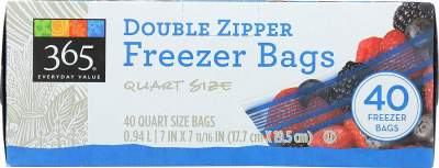 Amazon : Everyday Value, Double Zipper Freezer Bags, Quart Size, 40 Count Just $2.99 (As of 3/24/2019 10.31 AM CDT)