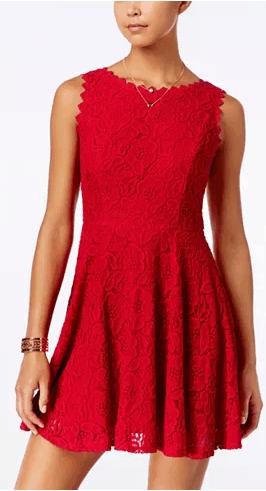 Macy's : Juniors' Lace Fit & Flare Dress Just $35.99 (Reg : $49)