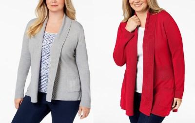 Macy's : SALE! $8.96 (Reg $54.50) Karen Scott Plus Size Textured Shawl-Collared Cardigan Sweater!!