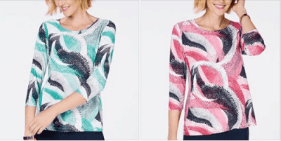 Macy's : 3/4-Sleeve Novelty Printed Jacquard Top Just $15.58 (Reg $44.50) !!