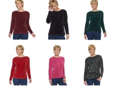 Kohl's : SALE! $8 (Reg : $40) Women's Croft & Barrow Chenille Boatneck Sweater!!