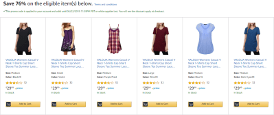 Amazon : Women's Casual V Neck T-Shirts Just $7.20 W/Code (Reg : $29.99) (As of 4/20/2019 8.13 PM CDT)