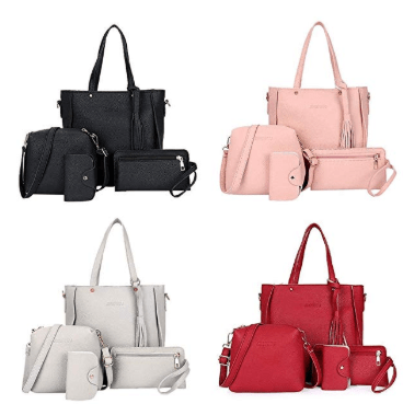 Amazon : 4pcs Women Leather Handbag Just $10.99 W/Code (Reg : $54.95) (As of 4/23/2019 2.23 PM CDT)