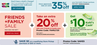 Kohls : Kohls Friends and Family Sale : 20% Off Sitewide + Extra $5 Off $50+
