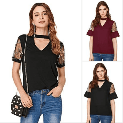 Amazon : Women's Embroidered Mesh Short Sleeve Choker Neck Blouse Just $6 W/Code (Reg : $14.99) (As of 4/08/2019 9.07 PM CDT)