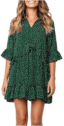 Amazon : Women's V Neck Ruffle Polka Dot Swing Loose Dress with Bell Sleeve Just $8.80 W/Code (Reg : $21.99) (As of 4/23/2019 6.57 PM CDT)