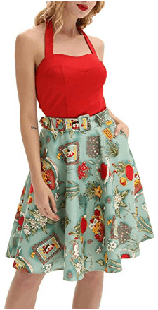 Amazon : Women's Vintage A-line Skirt High Waist Floral Midi Skirts with Belt Just $9.99 W/Code + $3 Off Coupon (Reg : $25.99) (As of 4/18/2019 1.56 PM CDT)