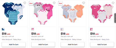 Nike Baby Bodysuits 3-Pack ONLY $18 (Regularly $30) at JCPenney – Just $6 Each!