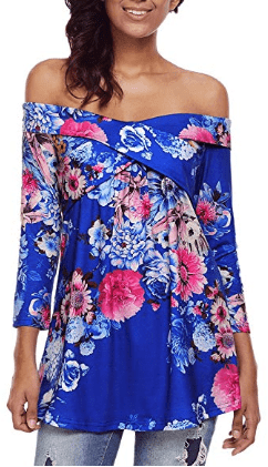 Amazon : Women's Casual Off Shoulder Drape Floral Print 3 4 Sleeve Blouse Just $13.99 W/Code (Reg : $19.99) (As of 5/24/2019 5.22 PM CDT)