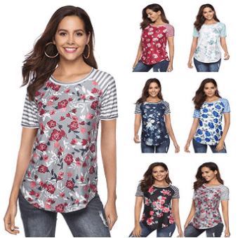 Amazon : Women's Casual Floral Printed Stripe Round Neck Short Sleeve T-Shirt Tops Just $11.98 to $12.98 W/Code (Reg : $32.45) (As of 5/24/2019 8.25 PM CDT)