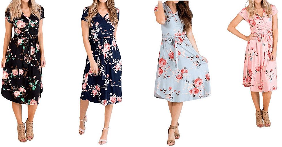 Amazon : Women's Casual Floral Print Wrap Dress Just $10.49 W/Code (Reg : $20.99) (As of 5/20/2019 12.18 PM CDT)