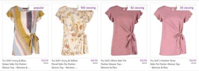 Zulily : ‼SALE‼ $12.99 (Reg $16.99) Flutter-Sleeve Tops !!