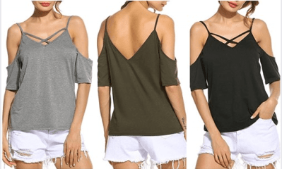 Amazon : Women's Cold Shoulder Cut Out Cross V Neck Short Sleeve T Shirt Just $6.49 W/Code (Reg : $12.99) (As of 5/19/2019 2.44 PM CDT)
