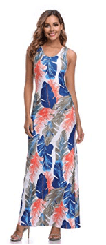 Women's Floral Sleeveless Scoop Neck Maxi Dresses for $13.49 w/code