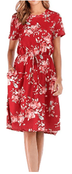 Amazon : Women's Short Sleeve Floral Round Neck Casual Midi Dress with Pockets Just $14.88 W/Code (Reg : $37.20) (As of 6/17/2019 8.26 PM CDT)