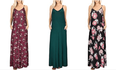 Amazon : Women's V-Neck Strap Casual Floral Print Maxi Split Dress with Pockets Just $8.99-12.49 W/Code (Reg : $17.99 - $24.99) (As of 6/17/2019 8.55 PM CDT)