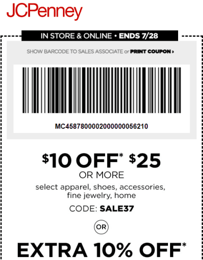 JCPenney : $10 Off a $25 Purchase Coupon (Ends 7/28)