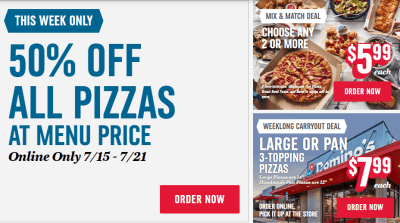 Domino's : 50% Off ANY Pizza at Menu Price (Ends 7/21)