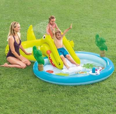 Walmart : Intex Gator Inflatable Swimming Pool with Water Sprayer, 127″ x 69″ x 29″ Just $24 (Reg $39.99)