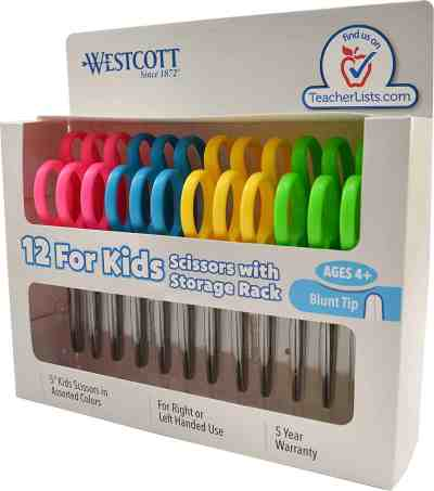 """Amazon : Westcott School Left and Right Handed Kids Scissors, 5"""" Blunt, Pack of 12, Assorted Just $9.98 W/$2.50 Off Coupon (Reg : $12.48) (As of 7/25/2019 10.44 AM CDT)"""