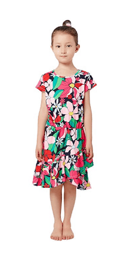 Little Girls Kids Printed Soft Cotton Jersey Dress with Ruffle Details 1-8Years for $5.67 w/code