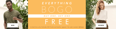 Banana Republic: Buy 1 Get 1 FREE Apparel (Today Only)