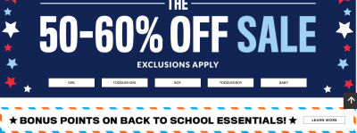 The Childrens Place : Labor Day Sale : Extra 60% – 80% Off Clearance items + Free Shipping!!
