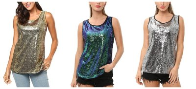 Women's Sleeveless Sparkle Shimmer Camisole Vest Sequin Tank Tops for $11.24 w/code & coupon