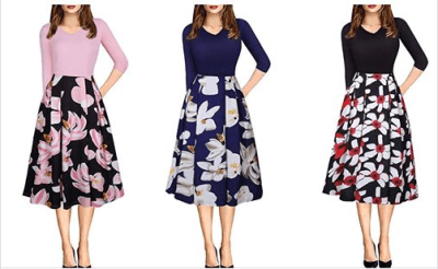 Amazon : Women's Vintage Patchwork 3/4 Sleeve Dress Wear to Work Office Party Dress Just $10.50 W/Code (Reg : $34.99) (As of 8/25/2019 8.59 PM CDT)