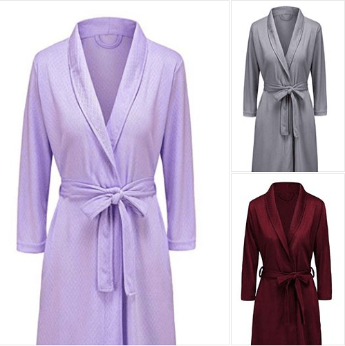 Hellomamma Women Waffle Kimono Bathrobe Lightweight Knee Length Bridesmaids Spa Robe Nightgown