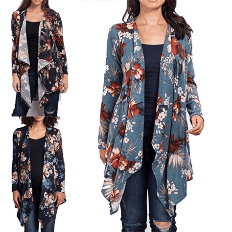 Women Casual Cardigan Floral Print Irregular Pleated Long Sleeve Open Front Knit Cardigan Sweaters Fashion Cardigan for $12.99 w/code