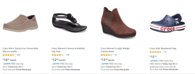 Amazon : Clothing, Shoes & Jewelry : Shoes Outlet : Crocs (As of 9/309/2019 8.53 AM CDT)