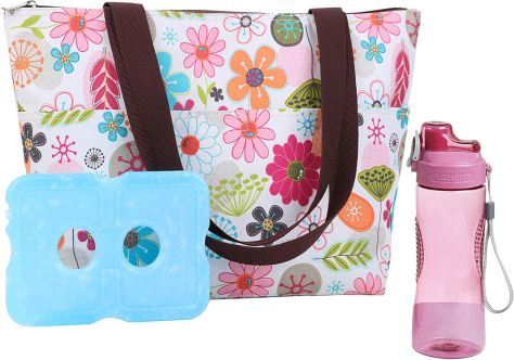 Lunch Bag Lunch Box with Ice Pack,20 oz Matching Water Bottle for $12.99 w/code & coupon