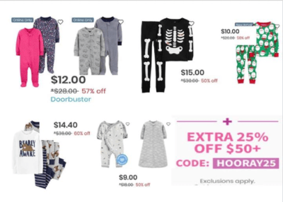Carter's : PJs sets are 60% off at Carters plus an additional 25% off orders of $50+ W/Code!!