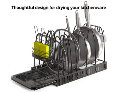 Pot Rack Organizer for Kitchen, Coming with a Sponge Holder and Drain Board for $13.71 w/code