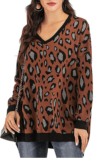 Amazon : Women's Leopard Batwing Sleeve V Neck Oversized Knitted Pullover Just $12.99 - $13.99 W/Code (Reg : $25.99 - $27.99) (As of 9/18/2019 9.11 PM CDT)