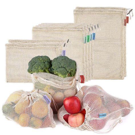 8pcs Cotton Mesh Bags Reusable Produce Bags for $9.87 w/code