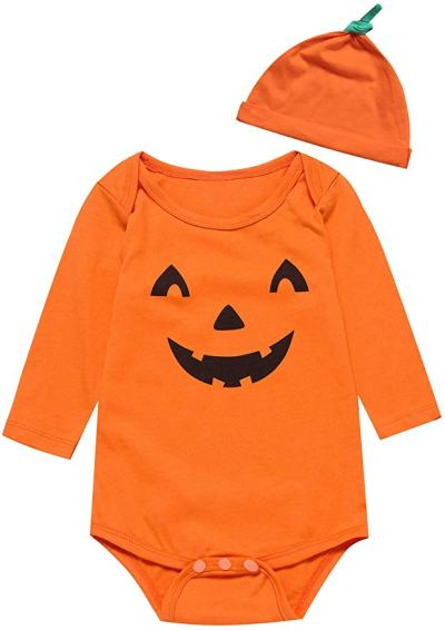 Baby Boys Girls Outfit Set Long Sleeve Cartoon Halloween Pumpkin Face Romper with Hat for $6.34 - $6.44 w/code