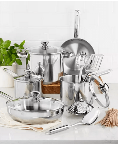 Stainless Steel 13-Pc. Cookware Set, Created for Macy's for $47.99 w/code