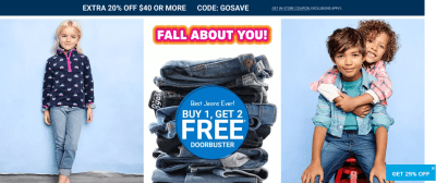 Osh Kosh : Buy-1-get-2-FREE jeans plus save 20% off $40+ with code!