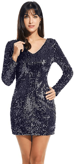 Amazon : Women's Sequin V-Neck Long Sleeve Bodycon Sheath Mini Dress Just $6.90 W/Code (Reg : $22.99) (As of 10/17/2019 7.06 PM CDT)