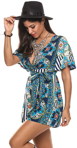 Amazon : Women's V Neck Floral Print Tie Waist Short Romper Just $10.40 W/Code (Reg : $25.99) (As of 10/17/2019 7.50 PM CDT)