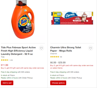 Target : Buy 3, get $10 gift card with same-day order services!