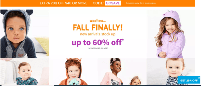Carter's : Carter's with code GOSAVE- get extra 20% off $40!! Free store pick up!