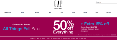 Gap Factory : 50% Off Everything, Extra 40% Off Clearance + Free Shipping on all Orders!!