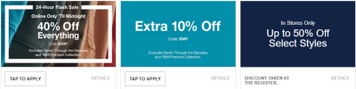 (Today Only) GAP - 40% Off Everything + Extra 10% Off!!