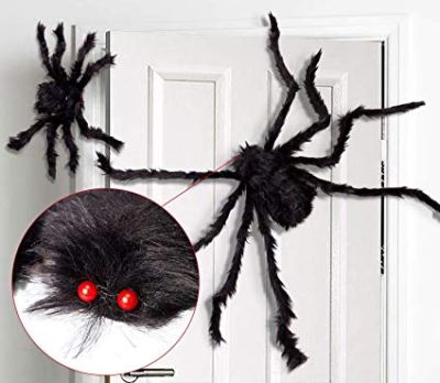 Giant Halloween Spider Black Spider 75cm Large Spider Haunted House Prop Plush Spider Scary Decoration for $6.65 w/code